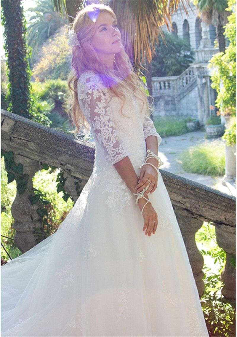 Three quarter Sleeves V-Neck Off Shoulder  A-LINE  Wedding Dresses For Bride Lace Applique Bridal Gowns vestido de noiva sereia