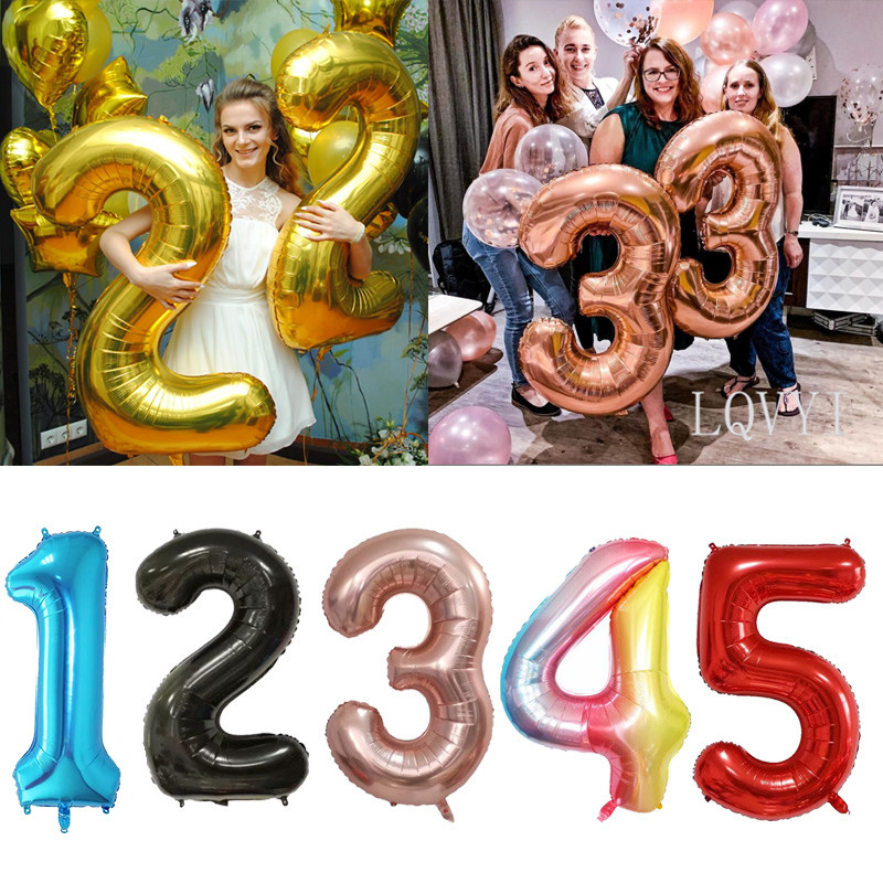 40 inch rose Gold Silver pink blue black big size Number Foil Helium Balloons Birthday Party Celebration decoration large globos(China)