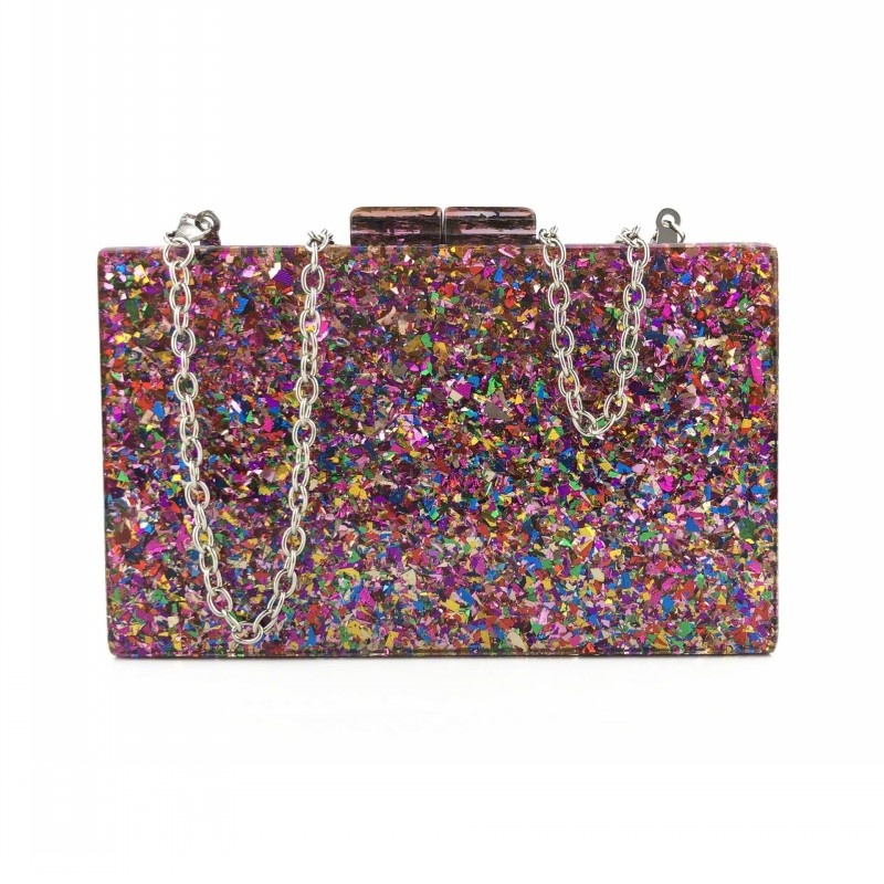 New Multicolored Sequin Acrylic Dinner Bag Wedding Guest Party Clutch Shoulder Banquet Evening Bag YSAN403