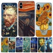 Caso do telefone da pintura a óleo de van gogh para o iphone 12 mini 11pro max xs 8 7 6s plus x 5 5S se xr se 2020 capa escudo coque
