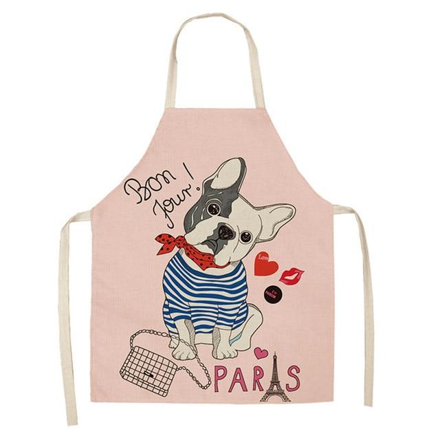 beiguoxia Parent Child Matching Apron Cartoon Animal Print Cotton Linen Kitchen Apron