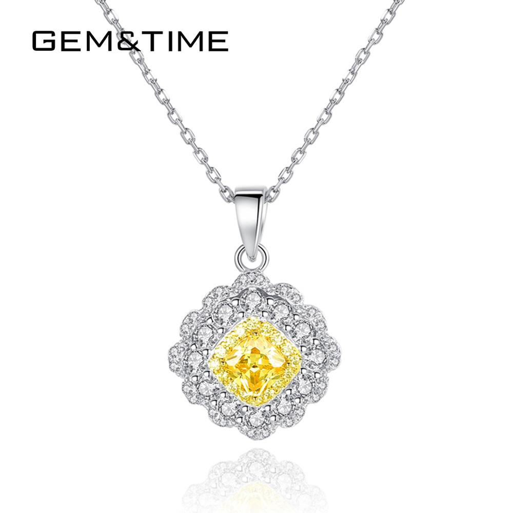Gem&Time Citrine Flower Stunning Pendant Sterling 925 Silver Necklace For Women Wedding Bridal Choker Fine Jewelry Gift SN0311