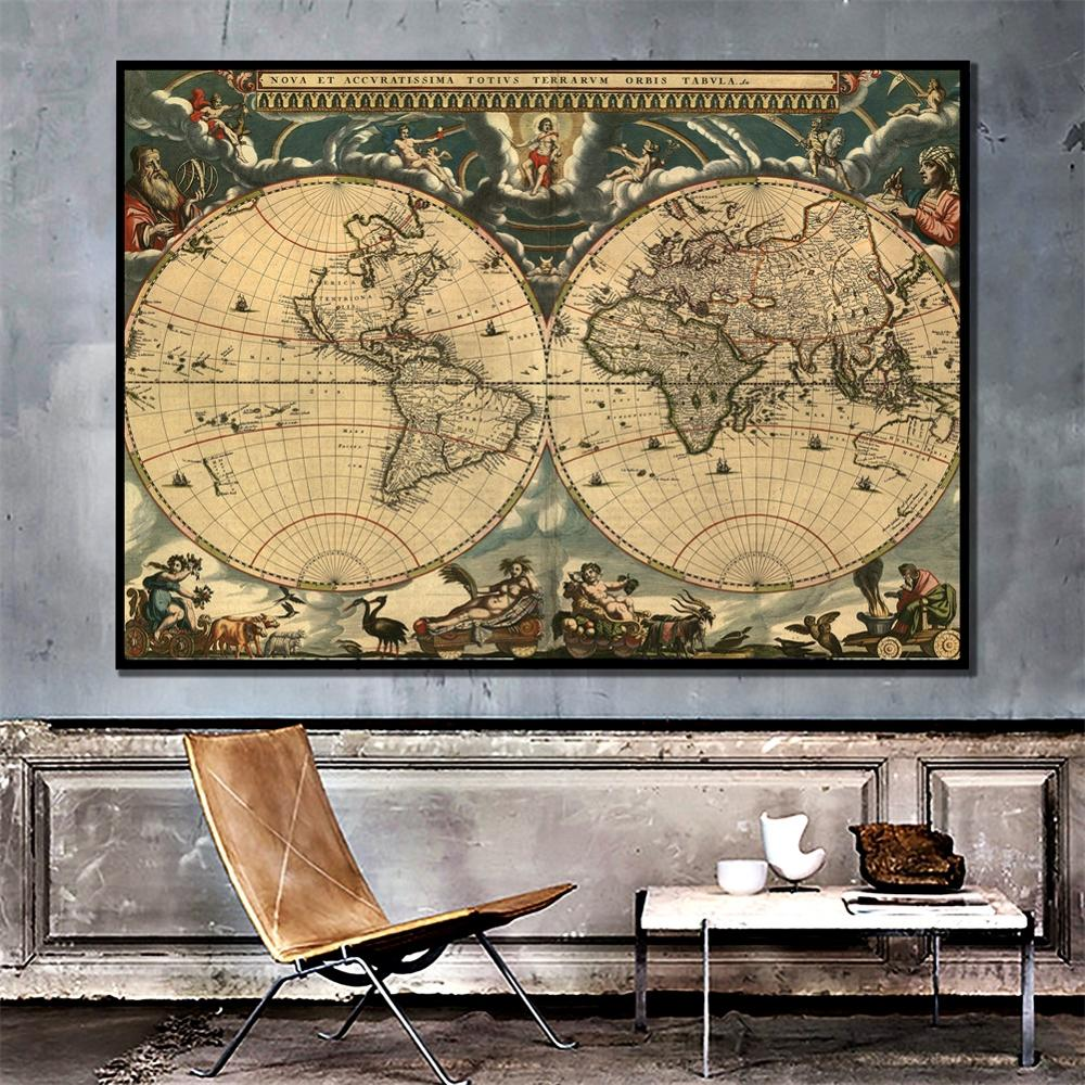A2 Size Retro World Map Fine Canvas Wall Map HD Printed Unframed Painting For Office School Wall Decoration
