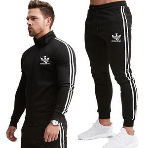 Image 3 - Gloednieuwe Rits Mannen Sets Mode Herfst winter Jas Sporting Suit Hoodies + Joggingbroek 2 Stuks Sets Slanke Trainingspak kleding