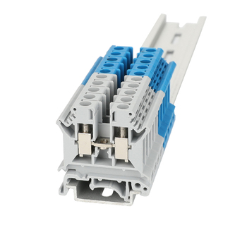 Din Rail Terminal Block 10Pcs UK-6N Universal Class Connector Screw Connection Terminal Strip Block UK6N Wire Conductor tb1504 1pcs dual row barrier screw terminal block strip wire connector fixed wiring board 600v 15a