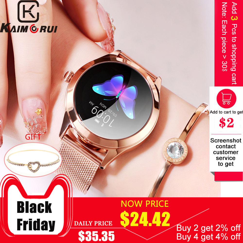 Bluetooth Смарт часы с монитором сердечного ритма для женщин Ip68 умный фитнес браслет водонепроницаемые часы из нержавеющей стали для Android IOS