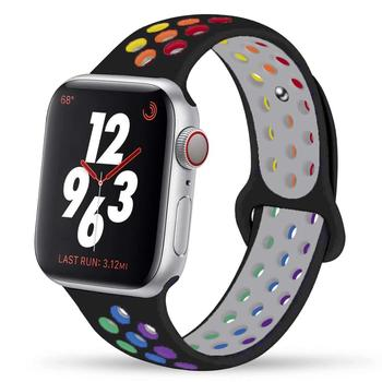 for apple watch series 4 band real carbon fiber watch straps for apple watch series 1 2 3 iwatch 38 4mm men s wrist bracelet Pride Edition Strap For apple watch band 44mm 40mm 42mm 38mm silicone for iwatch bracelet for apple watch series 5 4 3 SE 6
