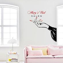 Fashion Custom Shop Name Beauty Nail Salon Wall Sticker Vinyl Interior Design Window Decals Manicure Decor Murals Wallpaper 3697