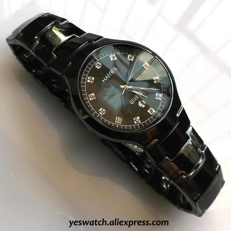 HAIYES biały czarny ceramiczne luksusowe zegarki kwarcowe Top markowe zegarki męskie eleganckie kobiety zegarki Relogio Masculino Montre homme