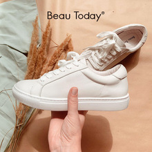BeauToday White Shoes Women Sneakers Round Toe Lace Up Genuine Cow Leather Lady Flats Derby Shoes Handmade 29008