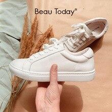 BeauToday beyaz ayakkabı kadın ayakkabı yuvarlak ayak dantel up hakiki inek deri bayan daireler Derby ayakkabı el yapımı 29008