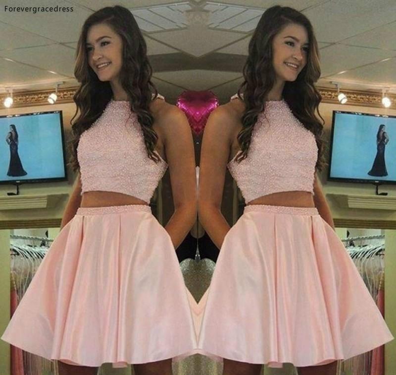 2019 Cheap Lovely Pink Two Pieces Cocktail Dress A Line Short Juniors Sweet 15 Graduation Party Dress Plus Size
