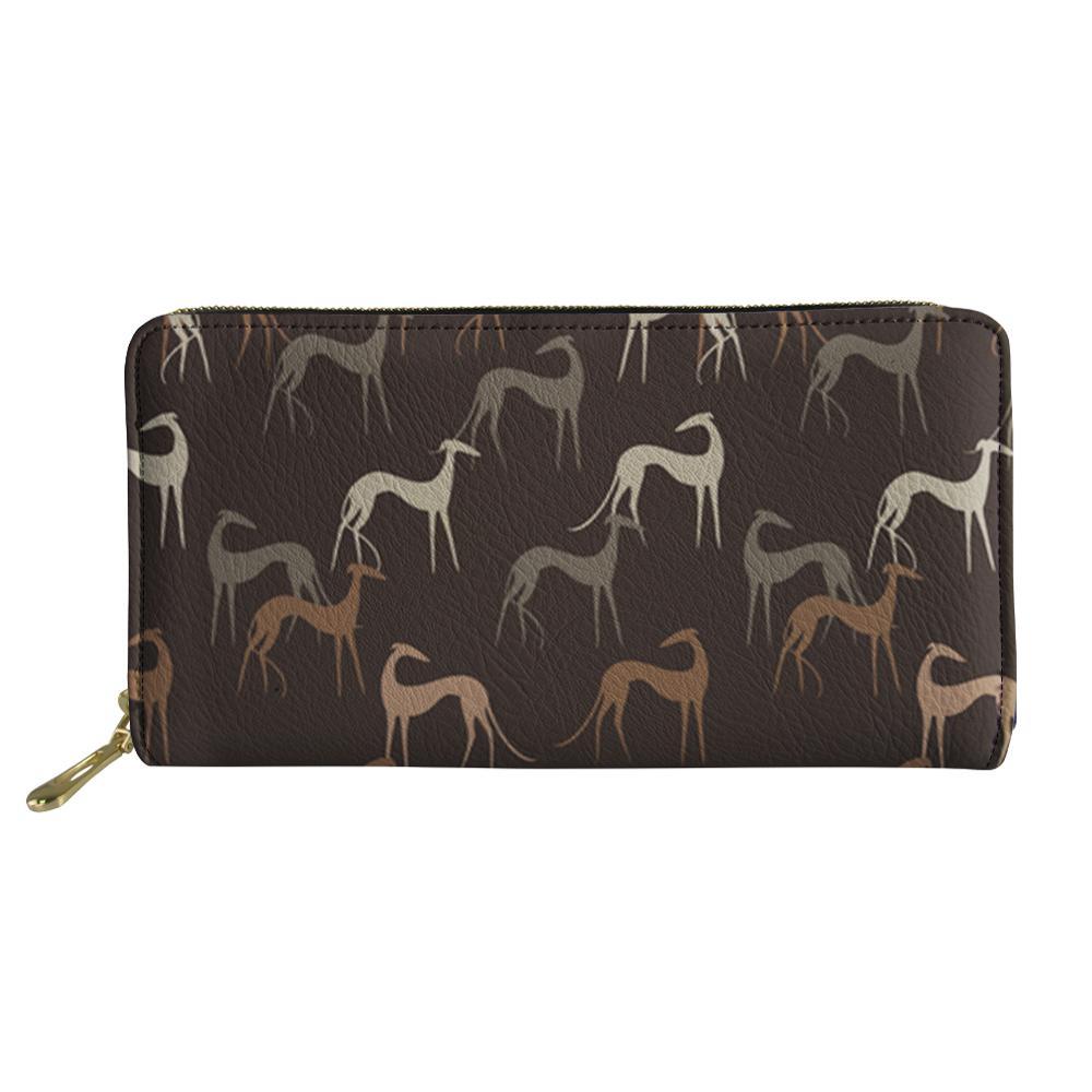 Animal Greyhound Print Wallet Women Long PU Purse Luxury Ladies Girls Travel Storage Money Bag Bank Card Holder Case
