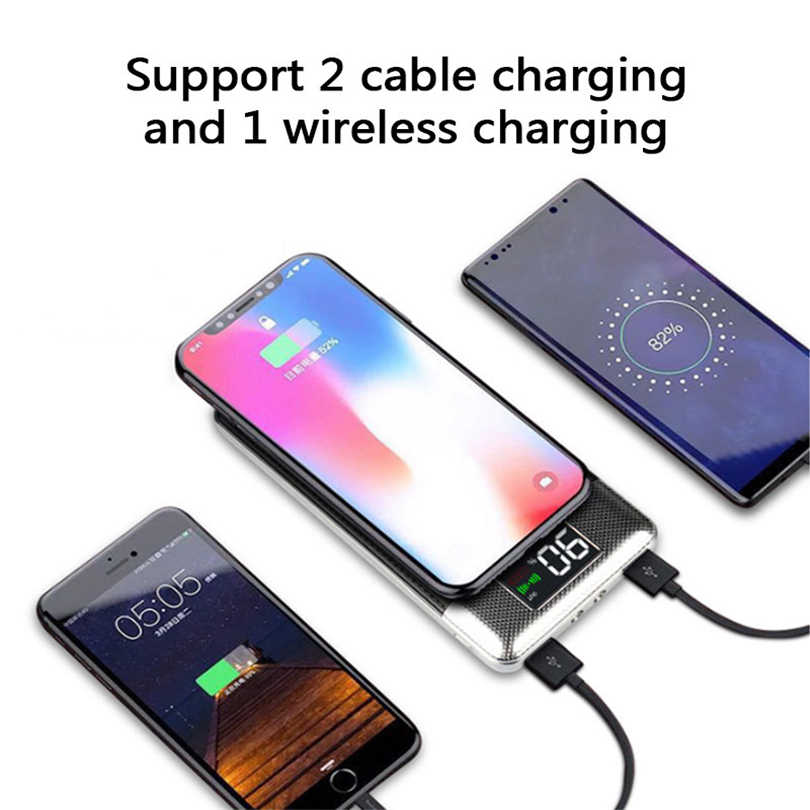 Qi Wireless Power Bank 30000 MAh Charger Baterai Eksternal Nirkabel Pengisian Powerbank untuk IPhone11 X Samsung Xiaomi Huawei