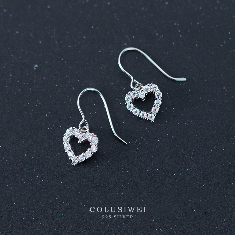 Colusiwei Genuine 100% 925 Sterling Silver Romantic Heart  Dazzle Clear CZ Dangle Earrings For Women Fashion Silver Jewelry