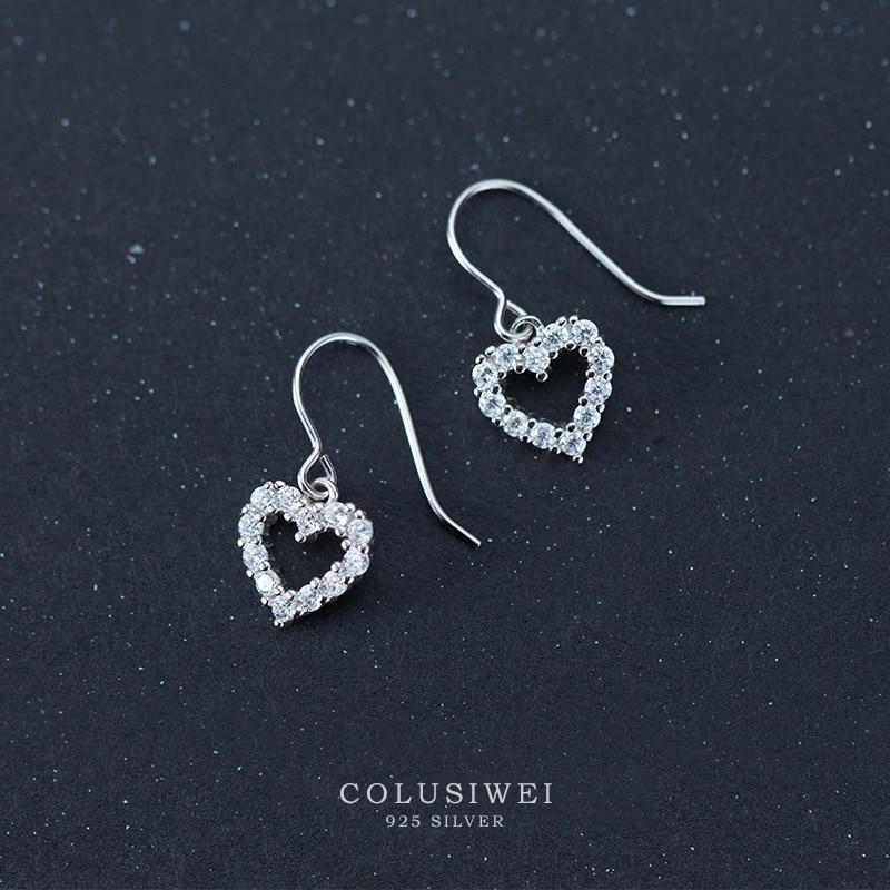 Colusiwei Genuine 100% 925 Sterling Silver Romantic Heart  Dazzle Clear CZ Dangle Earrings For Women Fashion Silver Jewelry