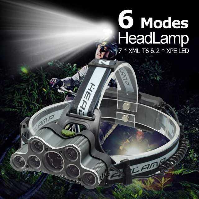強力な 9 LED USB ヘッドランプ 25000 Lm XML T6 Q5 Led ヘッドトーチ額ライトフロント懐中電灯 18650 ヘッドライト + USB ケーブル