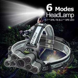 Image 1 - Mạnh Mẽ 9 LED Đèn LED Cổng USB 25000 LM XML T6 Q5 Led Đèn Pin Trán Ánh Sáng Trước Đèn Pin 18650 Đèn Pha + cáp USB