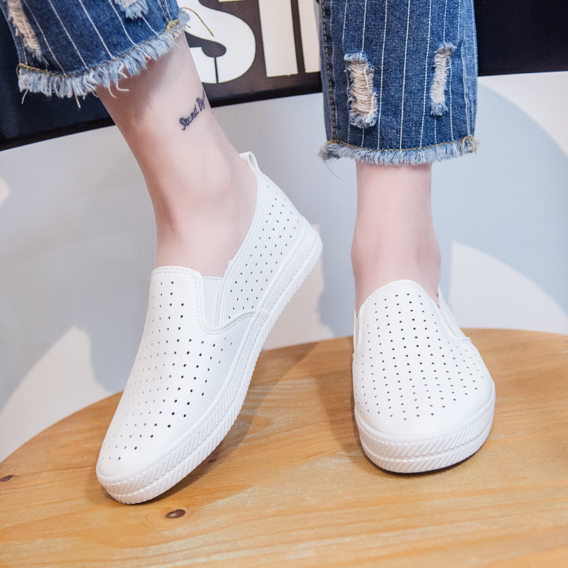 Woman Shoes New Fashion Women Shoes Casual Flats Solid Breathable Hole Simple Woman Casual White Shoes Sneakers