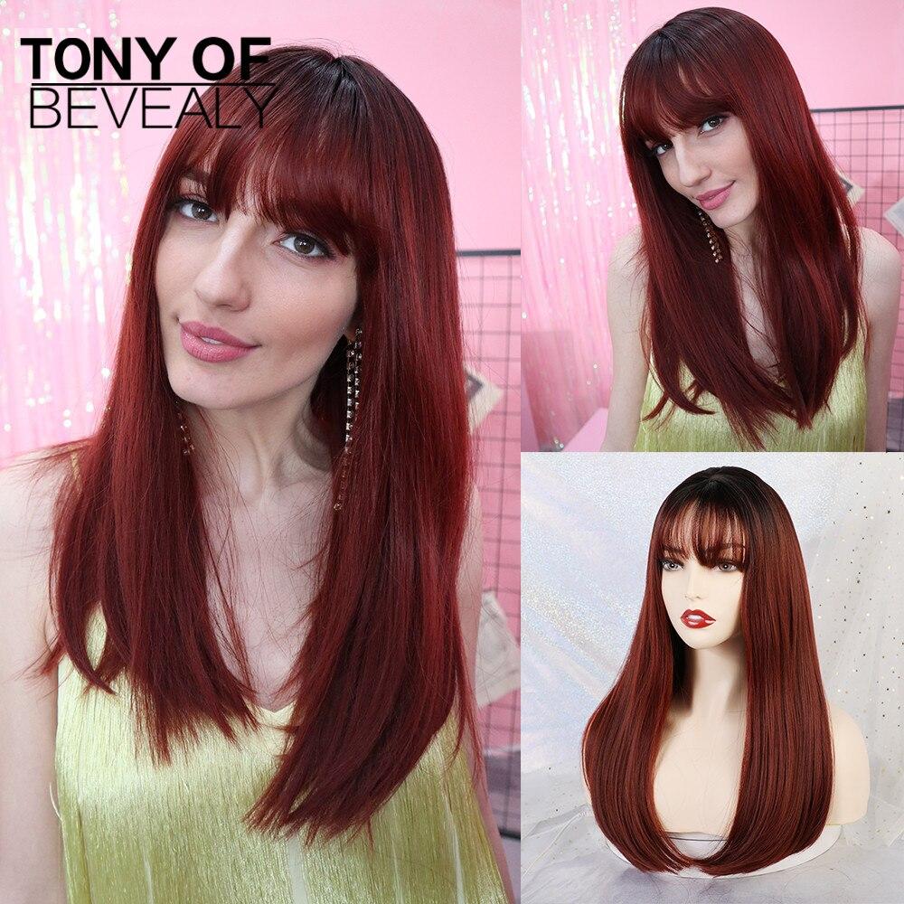 Pelucas largas y rectas con flequillo para mujer, pelucas de Cosplay Afro, de fibra sintética Natural, resistente al calor, ombré, vino tinto