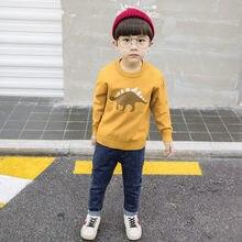 2019 New Clothing Cartoon Newborn Baby Boys Sweater O-Neck Kids Dinosaur for Boy Apring Autumn Knittwear Dark Khaki