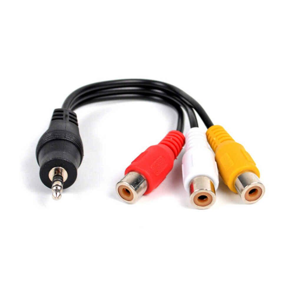 28cm wtyczka jack 3.5mm av męski na 3 rca żeńskie audio wideo kabel adapter stereo