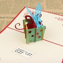 3D Торт поздравительная открытка DIY С Днем Рождения Бумаги юбилей подарок с открытки с конвертом ручной работы Вечерние принадлежности благословение