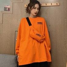 DAYIFUN Oversized Sweatshirts with Bag Women Vintage Orange Hoodies Letter Print Streetwear Long Sleeve Tops Autumn Pullovers