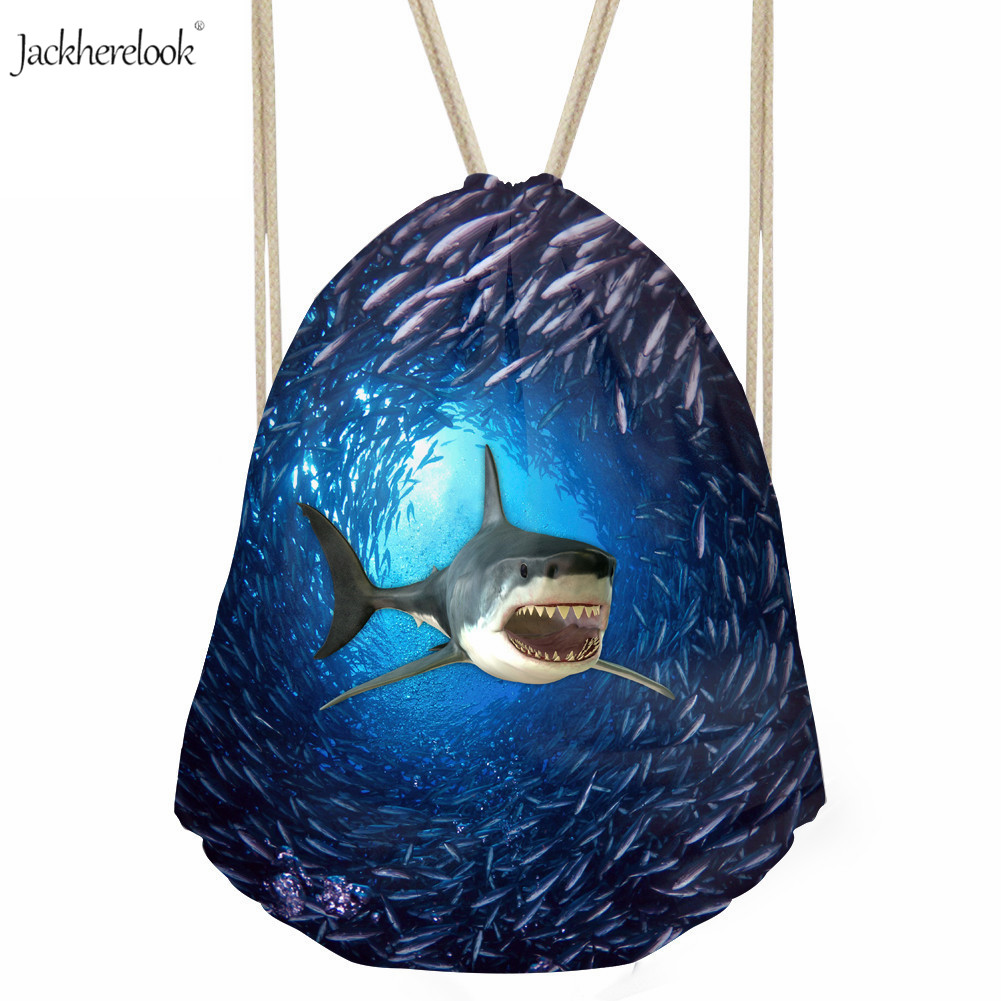 Jackherelook Shark/dolphin With Fish Print Drawstring Backpack Blue Sea Animal Gym Pack For Teens Marine Life Daily Storage Bag