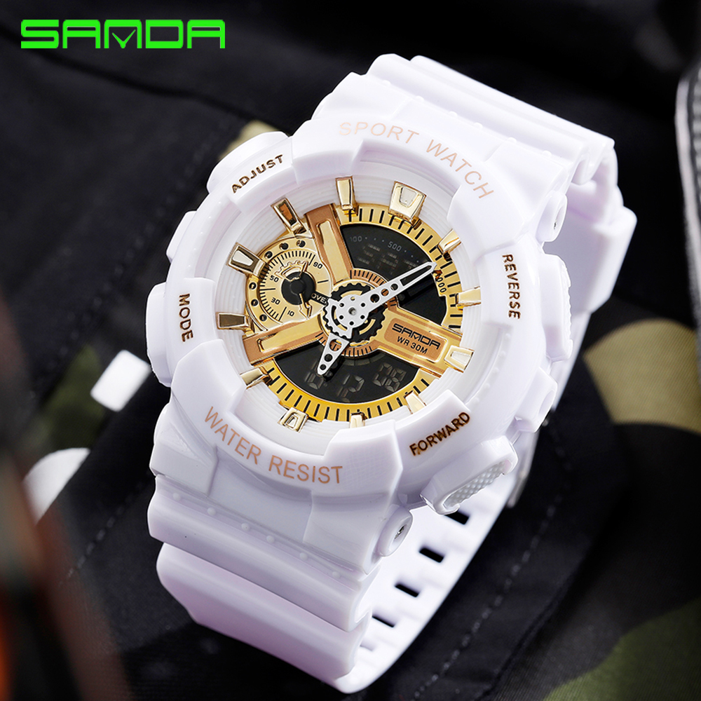 SANDA Sports Men Watches LED Digital Military Quartz Watch Men Waterproof G Style Wristwatches Relogio Masculino Couples Clock