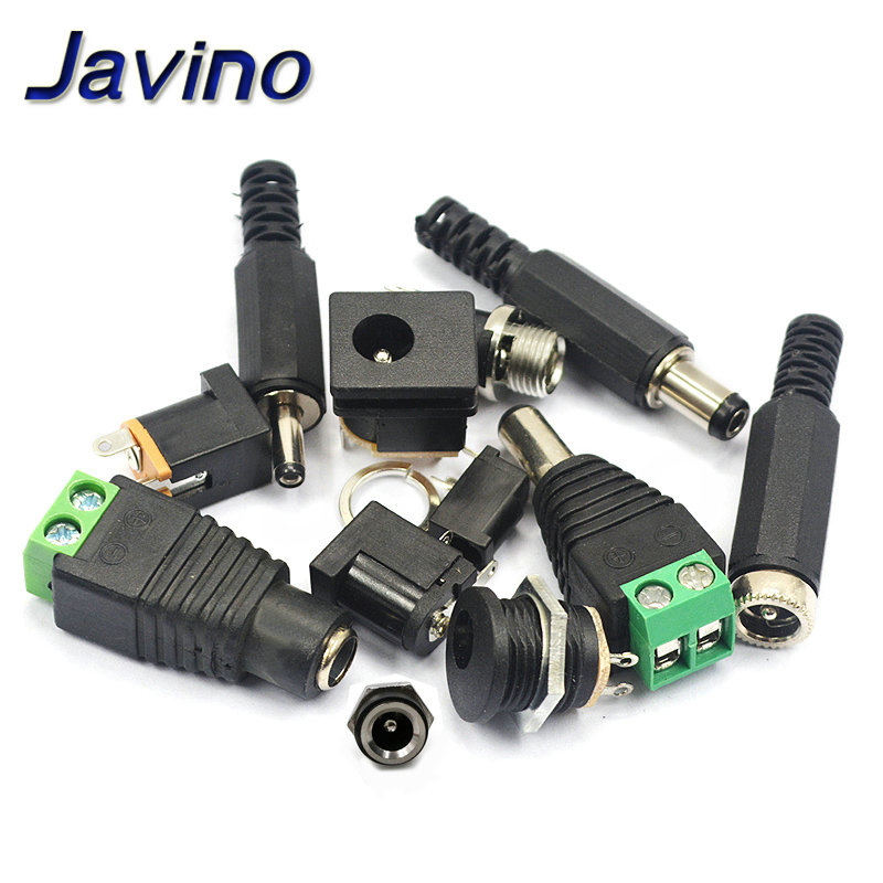5PCS Male and female DC Power plug 5.5*2.1MM 5.5*2.5MM 3.5*1.35MM 5.5*2.1 Jack Adapter <font><b>Connector</b></font> Plug Golden DC-022B DC-025M image