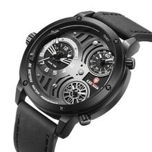 KADEMAN Classic Men Watch 2019 Casual Quartz Watches Leather Strap Unique Dial Male Wrist Multiple Time Zone Reloj Hombre