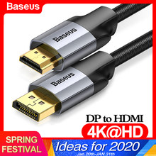 Baseus DP to HDMI Cable 4K Male to Male Display Port DisplayPort to HDMI Cable Adapter For Projector PS4 PC HDTV Converter Cord(China)