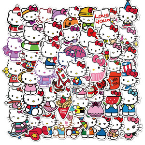 10/50Pcs Hello Kitty Stickers Waterproof PVC Skateboard Guitar Laptop Motorcycle Luggage Helmet Cool Cartoon Sticker Kids Toys