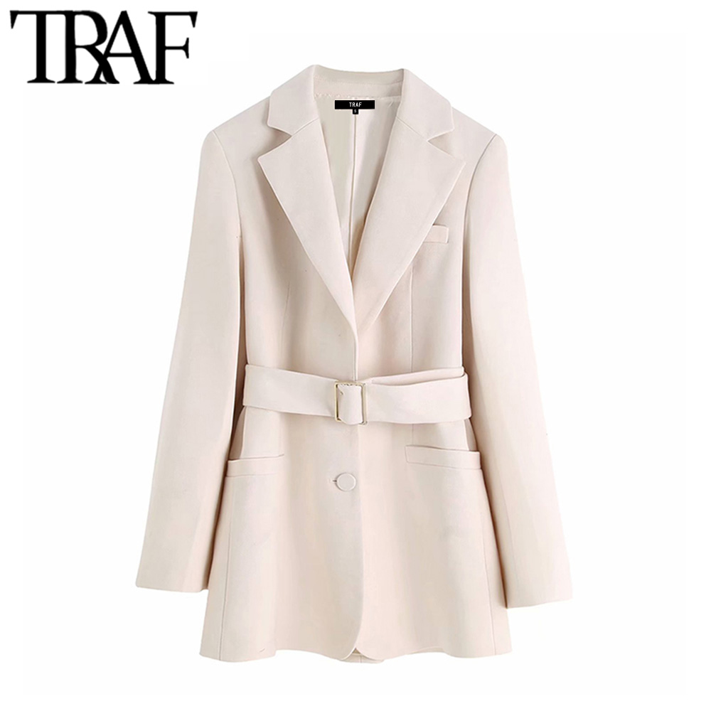 TRAF Women Vintage Stylish Office Lady With Belted Blazer Coat Fashion Notched Collar Long Sleeve Pockets Outerwear Chic Tops