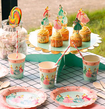 Birthday party disposable tableware party dress up cute girl baking paper cup cake dressing card plate(China)