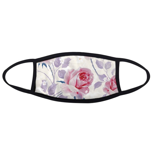 Pink Rose Drawing Art Plant Mouth Face Anti-dust Mask Anti Cold Warm Washable Cotton Gift