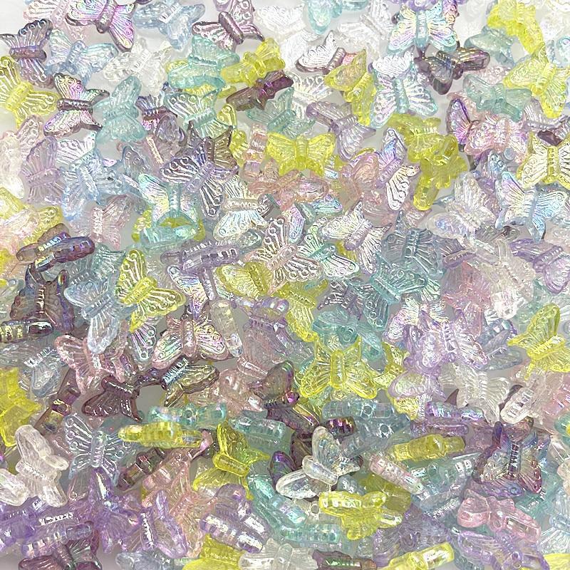 30 шт. 15 мм Цвет AB подвески бабочки Форма акриловые бусины Свободные Spacer Бусины для изготовления ювелирных изделий делая DIY браслет ручной ра...
