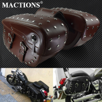 Motorcycle Saddlebag Tool Side Bag Waterproof PU Leather For Harley For Indian Scout For Suzuki boulevard c50t For Honda shadow