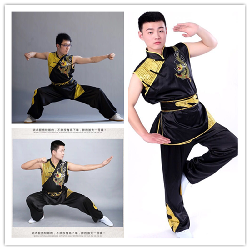 2019 Tai Chi Wushu Clothing Kung Fu Uniform Martial Arts Wing Chun Shaolin Monk Taiji Embroidered Paillette Demo Outfit For Men