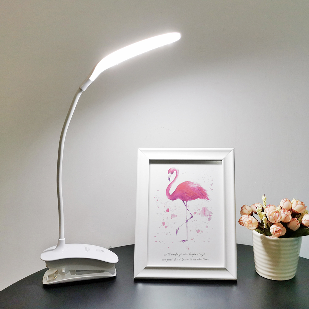 Rechargeable Flexible LED Desk Lamp Modern Office Bedside Room Study Lamp Light Table Lamps 18650 Battery Touch Switch Dimmer
