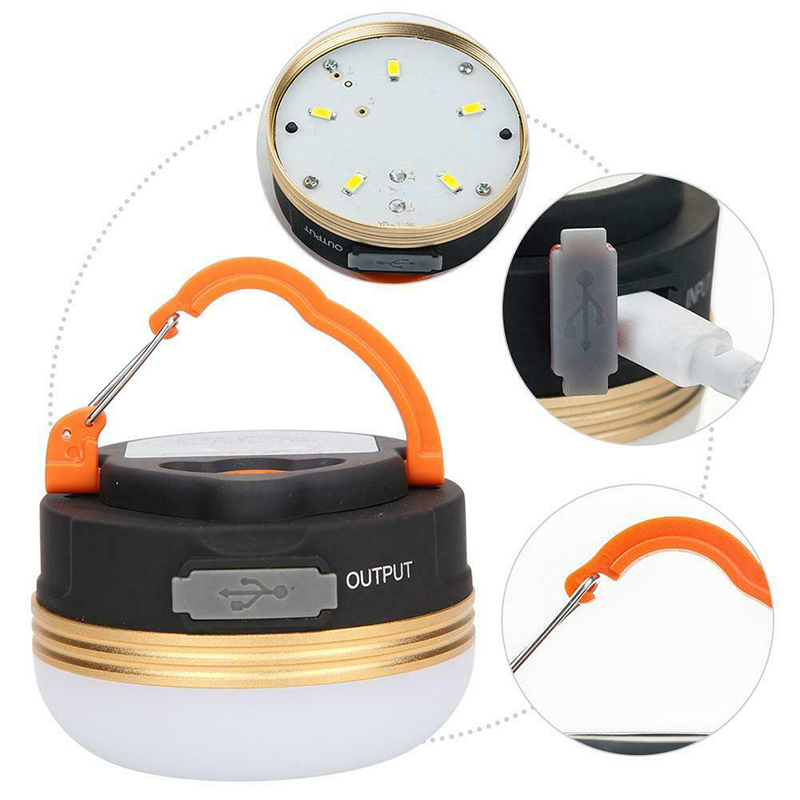 Mayitr 1pc Portable Outdoor LED Camping Tent Lamp USB Rechargeable Emergency Light For Hiking Fishing Boating