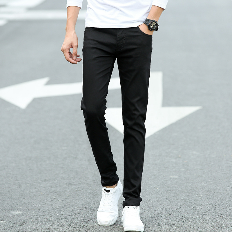 Winter New Style Black Jeans Slim Fit Skinny Pants Men Korean-style Trend Youth Stretch Trousers