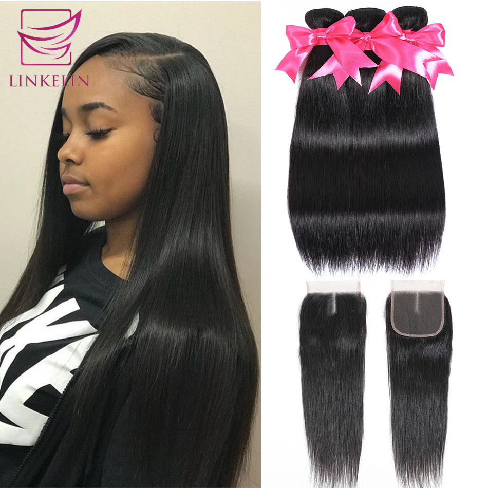 LINKELIN HAIR Brazilian Straight Hair Bundles With Closure Remy Human Hair Bundles With Closure 3 Bundles With Closure