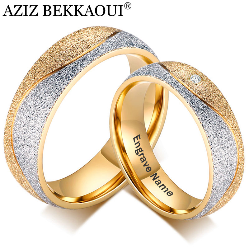 AZIZ BEKKAOUI Gold Couple Rings Engrave Name Stainless Steel Wedding Rings with Crystal for Women Men Fashion Promise Jewelry