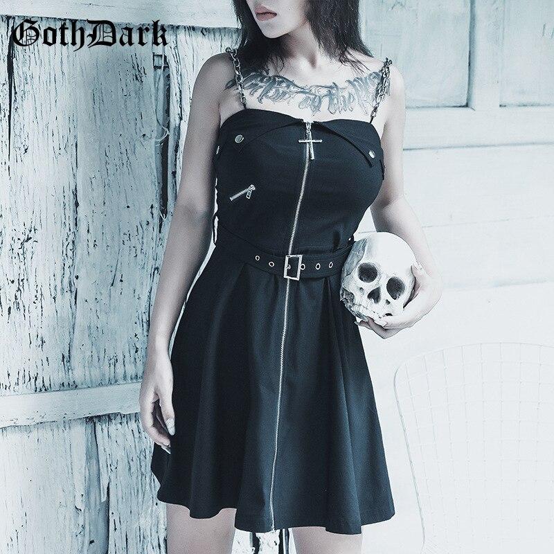 Goth Dark Black Rivet Grunge Punk Gothic Dress Harajuku Zipper Belt Vintage Aesthetic Fall 2019 Female Dresses Strap Fashion