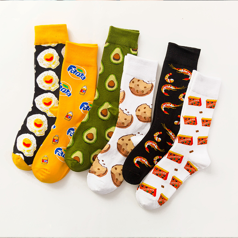 Funny Cotton Socks Women Tube Happy Sock Tide Cotton Long Snacks Fruit Food Avocado Socks High Tube Socks