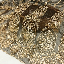 1meter mesh lace gold three-dimensional embroidery fabric / high-end custom apparel encryption French