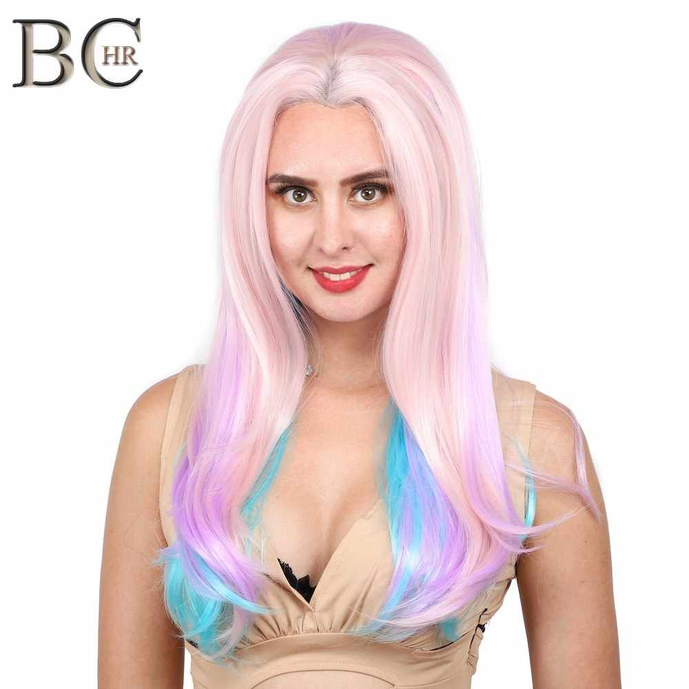 BCHR Straight Synthetic Purple 13*2 Lace Front Wig for Women Cosplay Wig for fairy princess Party
