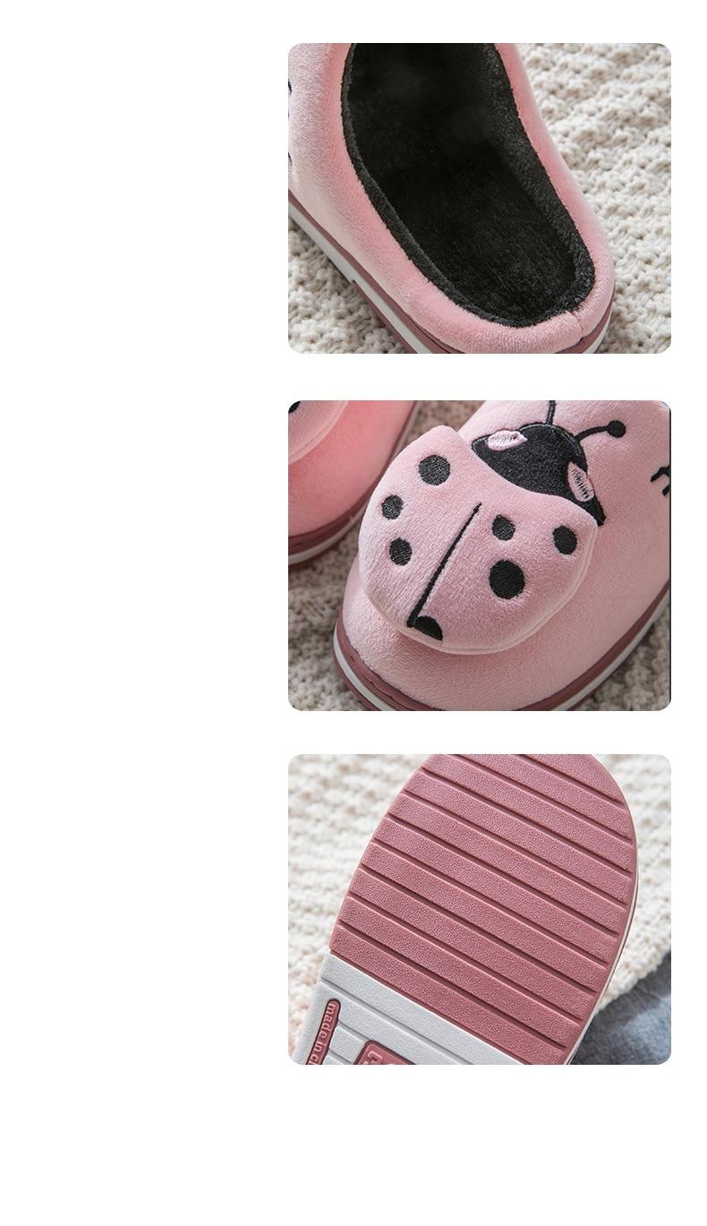Hf9b6e10cccda491cbbdf484812c2a6fa2 Inverno feminino chinelos de casa dos desenhos animados joaninha antiderrapante quente no interior do quarto sapatos de chão chinelos de pelúcia feminino pele do falso slides tux77
